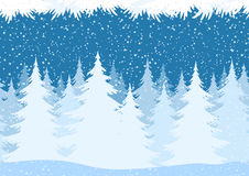 Seamless Christmas Forest Landscape. Seamless Horizontal Christmas Winter Forest Landscape with Snow and Fir Trees and Branch Silhouettes. Vector Stock Photography