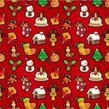 Seamless Christmas funny cartoon Royalty Free Stock Photo