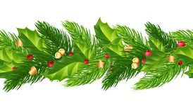 Seamless Christmas garland of fir branches holly, berries, bells vector illustration