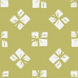 Seamless Christmas Gift Box Present Pattern. Winter Seamless Pattern with Christmas Gift Boxes. Wrapped Boxes with Stripes and Bows Flat Vector on Color Royalty Free Stock Image