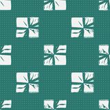 Seamless Christmas Gift Box Present Pattern. Winter Seamless Pattern with Christmas Gift Boxes. Wrapped Boxes with Stripes and Bows Flat Vector on Color Stock Photography