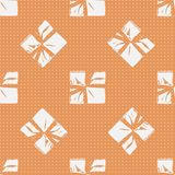 Seamless Christmas Gift Box Present Pattern. Winter Seamless Pattern with Christmas Gift Boxes. Wrapped Boxes with Stripes and Bows Flat Vector on Color Stock Photo