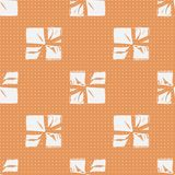Seamless Christmas Gift Box Present Pattern. Winter Seamless Pattern with Christmas Gift Boxes. Wrapped Boxes with Stripes and Bows Flat Vector on Color Stock Images