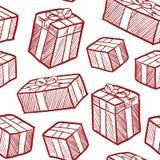 Seamless christmas gift vector background Stock Photos