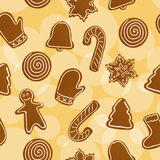 Seamless Christmas gingerbread background Royalty Free Stock Images
