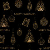 Seamless Christmas gold glitter pattern in art deco modern style Royalty Free Stock Photo