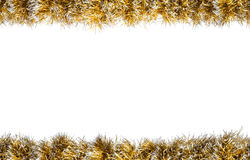 Seamless Christmas gold silver tinsel frame. Isolated on a white background Stock Image
