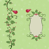 Seamless Christmas greetings with holly. Christmas greetings with holly and a label for your message. The background and the holly vine form a seamless pattern Stock Image