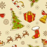 Seamless Christmas hand drawn pattern Stock Photos