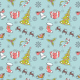 Seamless Christmas hand drawn pattern. With sketch fir tree, doodle stocking, candy cane, bell, Santa Clause with deer and snowflakes Stock Image