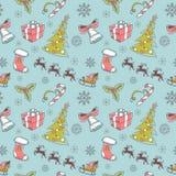 Seamless Christmas hand drawn pattern Stock Image