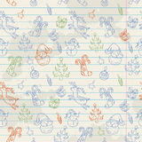 Seamless Christmas hand drawn pattern Stock Photos