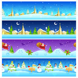 Seamless Christmas Holiday background with Santa and Snowman Stock Photo