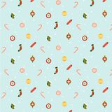Seamless christmas holiday pattern with balls, socks and other decorations. royalty free illustration