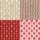 Seamless christmas holiday pattern. Set of seamless pattern in classic red and green and gold colors. Holiday texture with christmas icons Stock Photography