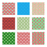 Seamless christmas holiday pattern. Set of nine seamless pattern in classic red and green, blue and gold colors. Holiday texture Royalty Free Stock Image