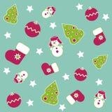 Seamless Christmas icons. On dark blue background Stock Photo