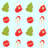 Seamless Christmas icons. On the light blue background Royalty Free Stock Image