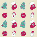 Seamless Christmas icons. On a purple background Stock Image