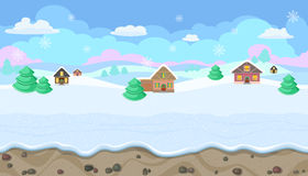 Seamless Christmas landscape with hills and houses for game design Stock Photos