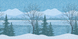 Seamless Christmas Landscape Royalty Free Stock Images