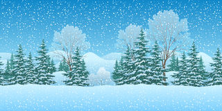 Seamless Christmas Landscape Royalty Free Stock Photo