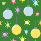 Seamless Christmas Lights and Ornaments Stock Image