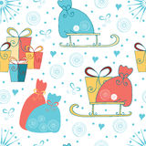 Seamless Christmas or New Year background with gifts, sledge, Santas bag made on cartoon style. Stock Photography