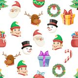 Seamless Christmas New Year Winter Holiday Xmas Icons Set Cartoon Design Transparent Background Vector Illustration Royalty Free Stock Images