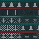 Seamless Christmas nordic knitting vector pattern with fir-trees, snowflakes and decorative lines. Seamless Christmas nordic knitting vector pattern with white Royalty Free Stock Photography
