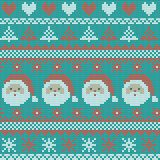 Seamless Christmas nordic knitting vector pattern with fir-trees, snowflakes, hearts, Santa Claus and decorative stripes. On green background Stock Photo