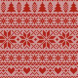 Seamless Christmas nordic knitting vector pattern with fir-trees, snowflakes, Selburose or hearts. Seamless Christmas nordic knitting vector pattern with red fir Royalty Free Stock Photo