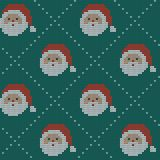Seamless Christmas nordic knitting vector pattern with Selburose and decorative elements Stock Images