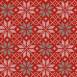 Seamless Christmas nordic knitting vector pattern with Selburose and decorative elements Royalty Free Stock Images