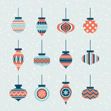 Seamless christmas ornament balls set Stock Images