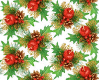 Seamless christmas ornament - red, green, gold Royalty Free Stock Image
