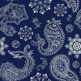 Seamless Christmas and Paisley pattern Stock Images
