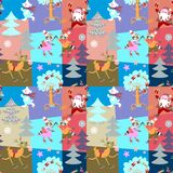 Seamless Christmas patchwork pattern with Santa Claus, funny deer, polar bear and lovely raccoons on skates in winter forest. Vector illustration stock illustration