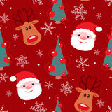 Seamless christmas pattern. Rudolph, santa, tree and snowflakes on red background Stock Photography