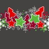 Seamless christmas pattern. With stylized stars and trees Stock Photography
