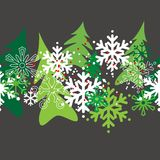 Seamless christmas pattern. With stylized snowflakes and trees Stock Photos