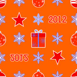 Seamless christmas pattern. Seamless pattern with snowflakes, balls, and gifts Vector Illustration