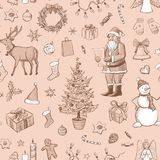 Seamless christmas pattern on a beige background.Hand drawn Royalty Free Stock Photography