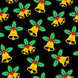 CSeamless christmas pattern with bell and Holly. Seamless christmas pattern with bell and Holly on a black background stock illustration
