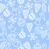 Seamless Christmas pattern. Bells, decorations,snowflakes, hearts Stock Images
