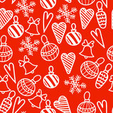 Seamless Christmas pattern. Bells, decorations,snowflakes, hearts Royalty Free Stock Photos