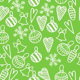 Seamless Christmas pattern. Bells, decorations,snowflakes, hearts stock photo