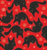 Seamless christmas pattern with black cats Stock Photography
