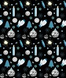 Seamless Christmas pattern, black, white and blue, vector illustration stock illustration