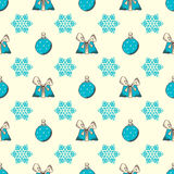 Seamless Christmas pattern. Blue hand-drawn festive background Stock Images